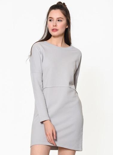Braez Uzun Kollu Mini Elbise Gri